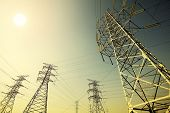 stock photo of transmission lines  - Power transmission tower - JPG