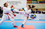 MOSCOW - JUN 9: Fight between female participants of 10th Team Championship of Europe on karate at O