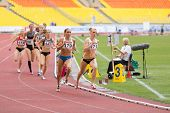 MOSCOW - JUN 11: Athletes run in circles on International athletic competition Moscow Challenge on J