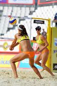 MOSCOW - JUNE 6: Female team from USA play volleyball in Country Quota at tournament Grand Slam of b