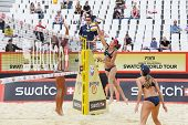 MOSCOW - JUNE 6: Teams from Brazil play volleyball in Country Quota at tournament Grand Slam of beac