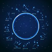 image of horoscope signs  - vector of the aries zodiac sign of the beautiful bright stars on the background of cosmic sky - JPG