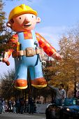 Inflated Construction Worker Balloon In Atlanta Christmas Parade