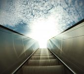 pic of escalator  - modern architecture steps of moving business escalator - JPG