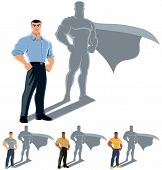 image of average man  - Conceptual illustration of ordinary man with superhero shadow - JPG