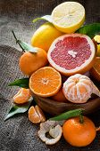 stock photo of clementine-orange  - Fresh citrus fruits on rustic background selective focus - JPG