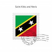 Saint Kitts and Nevis Flag Postage Stamp.