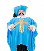 foto of courtier  - Cavalier gentleman in feathered cap and turquoise blue uniform of the cross with over a rotund fat belly isolated on white - JPG