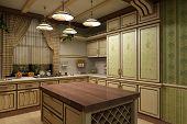 ?uisine interior in vintage style 3-D