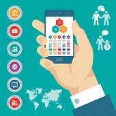 Infographic concept with mobile phone in hand & vector business icons.