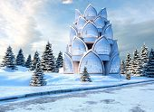 stock photo of winter palace  - Glass Palace on a winter landscape - JPG