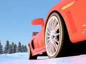 Sports car in the snow.