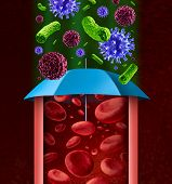 picture of immune  - Human immune system as a health care concept with a blue umbrella as a medical metaphor for body defence and protection against disease and infection from microorganisms as virus bacteria and cancer cells - JPG
