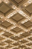 stock photo of broadway  - Old Historic Broadway Theater Marquee Ceiling Blinking Lights Vertical - JPG