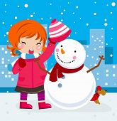 A little girl playing with Snowman