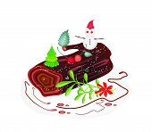 Traditional Christmas Cake Or Yule Log Cake.