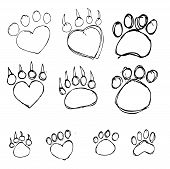 image of hoof prints  - an images of   Animal Foot prints icon sign - JPG