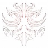 stock photo of maori  - Maori tribal art tattoo isolated on white - JPG