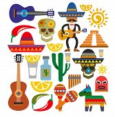 stock photo of sombrero  - vector mexico icons - JPG