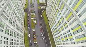 Cars at parking at wet day among buildings of residential complex. View from unmanned quadrocopter.