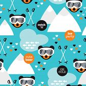 Seamless retro winter fox and grizzly bear woodland ski slope illustration background pattern in vec