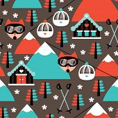 Seamless kids retro winter fox woodland ski cabin illustration background pattern in vector
