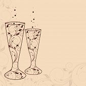 Merry Christmas celebration greeting card or invitation card with floral decorated champagne glass on abstract background,