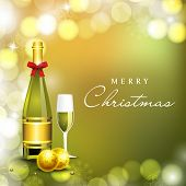 Merry Christmas celebration greeting card or invitation card with champagne glass on shiny background.