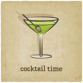 image of cocktail menu  - old background with cocktail  - JPG