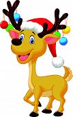 Cute deer cartoon with red hat and christmas ball