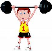 Cartoon man lifting barbell