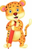 Cute leopard cartoon holding red pencil