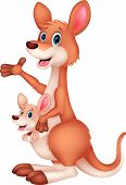 Mother and baby kangaroo cartoon