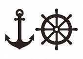 picture of nautical equipment  - Anchor and Rudder sign isolated on white background - JPG