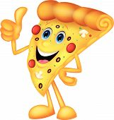Happy pizza cartoon with thumb up