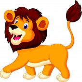 Lion cartoon walking