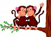 stock photo of chimp  - Vector illustration of Two monkeys cartoon sitting on a tree - JPG