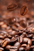 Four Falling Coffee Beans And Roasted Coffee