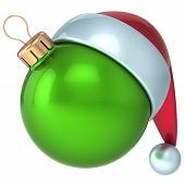Christmas ball Happy New Year bauble decoration green ornament Santa hat icon