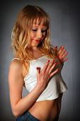 Blond Young Girl In Studio