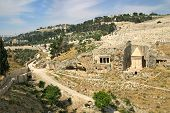 Tomb of of the priest Zechariah and ancient jewish cemetery on Mount of Olives in Jerusalem, Israel.