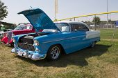 1955 Blue And White Chevy Bel Air Side View