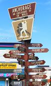 Anchorage, Alaska air crossroads of the world signpost