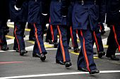 stock photo of military personnel  - Legs of military personnel are seen during a national day military parade