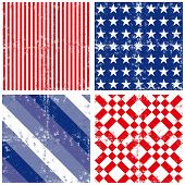 Blue red white stripe star square seamless pattern set