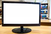 Monitor With White Cutout Screen For Simple Text On Office Desk