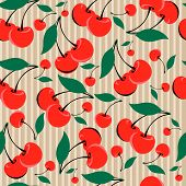Seamless Vintage Background With Red Cherries