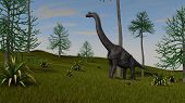 brachiosaurus walking on hill