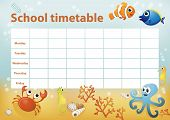 School Timetable With Cartoon Sea Animals In Background