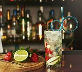Fresh mojito drink with strawberry